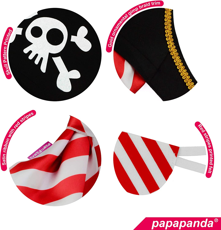 papapanda Piratenhut Augenklappe f/ür Kinder Karibik Kapit/än Kost/üm