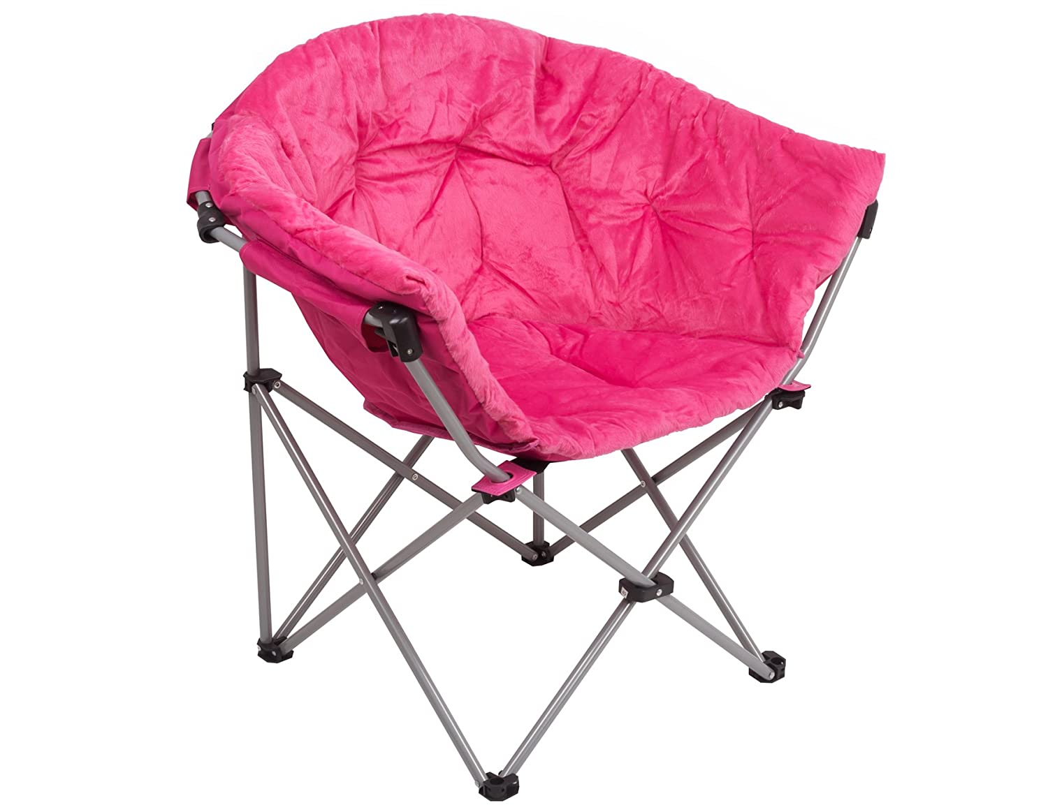 GOJOOASIS Folding Saucer Chair Moon Round Soft Comfortable Short Plush Faux Fur Padded Club Seat for TV Living Room Dorm (Pink)