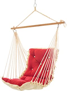 product image for Nags Head Hammocks Jockey Red Sunbrella Tufted Single Swing with Free Hanging Hardware, 350 LB Weight Capacity, Handcrafted in The USA, Perfect for Indoor or Outdoor Use