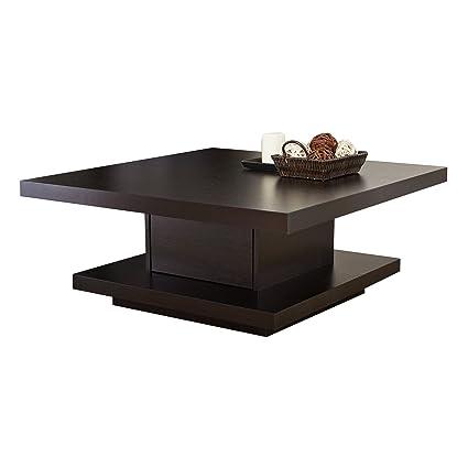 Amazon Com Iohomes Celio Square Coffee Table Red Cocoa Kitchen Dining