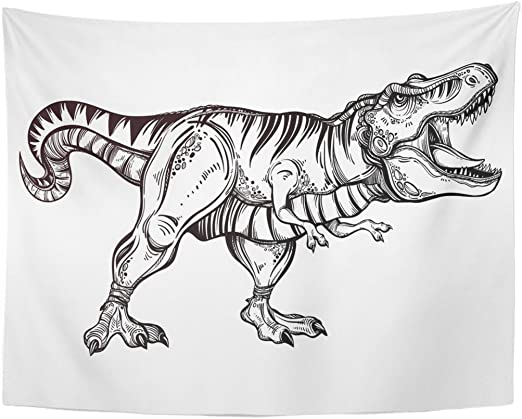 - Amazon.com: TOMPOP Tapestry Tyrannosaurus Dinosaur Highly Detailed Rex Coloring  Page Effect Tattoo Home Decor Wall Hanging For Living Room Bedroom Dorm  60x80 Inches: Home & Kitchen