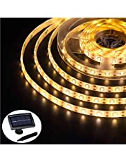 Solar Strip Lights Outdoor Waterproof, Auto ON/Off, 2 Modes, Flexible and Cuttable, Self-Adhesive, 5m 150Leds Strip Lights for Window Cabinets Stairs Roof Patio Walkway Fence Decor 15.00W, 1.20V