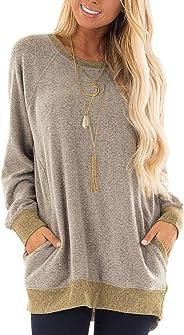 osazic Womens Casual Color Block Long Sleeve Round Neck Pocket T Shirts Blouses Sweatshirts Tops