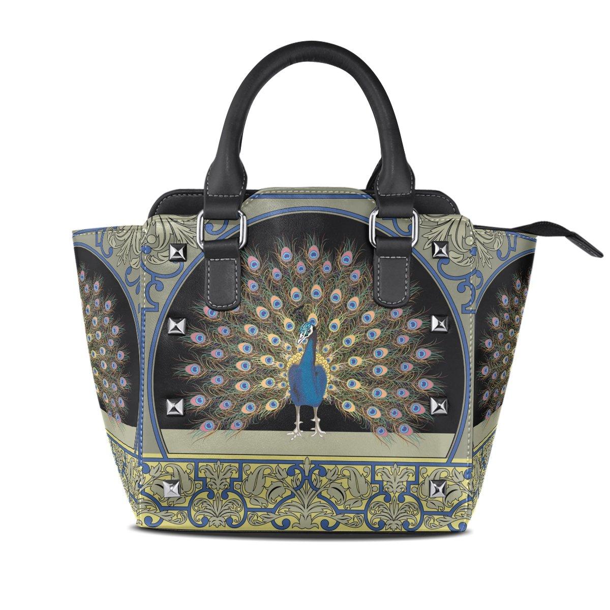 Ladies Genuine Leather Tote Bags Beayty Peacock Womens Hangbags Shoulder Bags