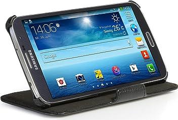 Custodia esclusiva Stilgut UltraSlim in vera pelle con funzione di supporto per Samsung Galaxy Mega 6.3 (I9200), nero