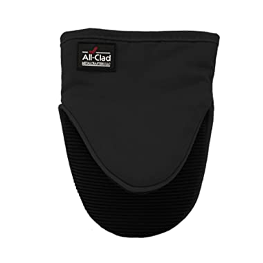All Clad Textiles Professional 600-Degree Cotton Twill Silicone Grabber Oven Mitt with No-Slip Grip, Black