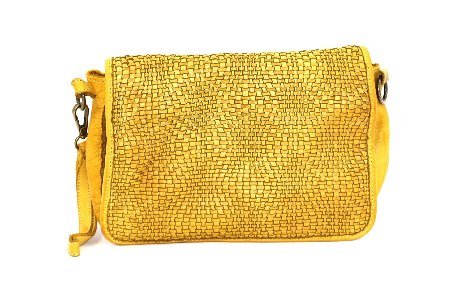 Yellow DDMilano Women's Crossbody Italian Genuine Leather Shoulder Bag