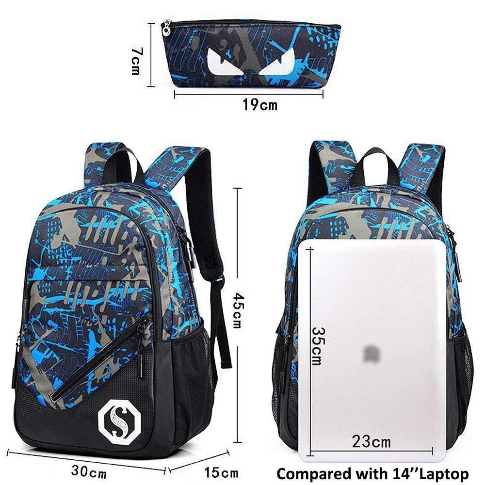 Pureed Schule Casual Luminous Rucksack Bag School Wandern Wandern Wandern Stylisch Mode Reiserucksack Laptop Schulter Rucksack Mit USB Ladeanschluss (Farbe   grau-Graffiti, Größe   One Größe) B07M9FCH3K Daypacks Leicht zu reinigende Oberfläche ada65e