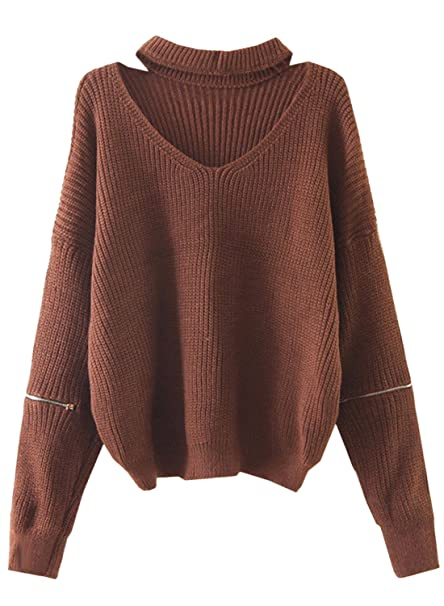 9abfb2b3111 Futurino Women s Solid Choker V Neck Long Sleeve Loose Knit Sweater Jumper  Top OneSize Brown
