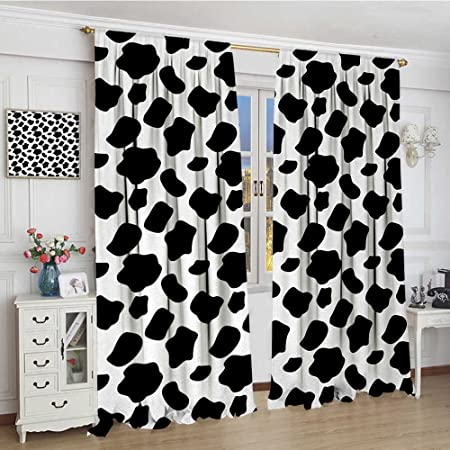 Cow Print Room Darkening Curtains Cattle Skin Pattern With Scattered Spots Animal Hide Plain And Pasture