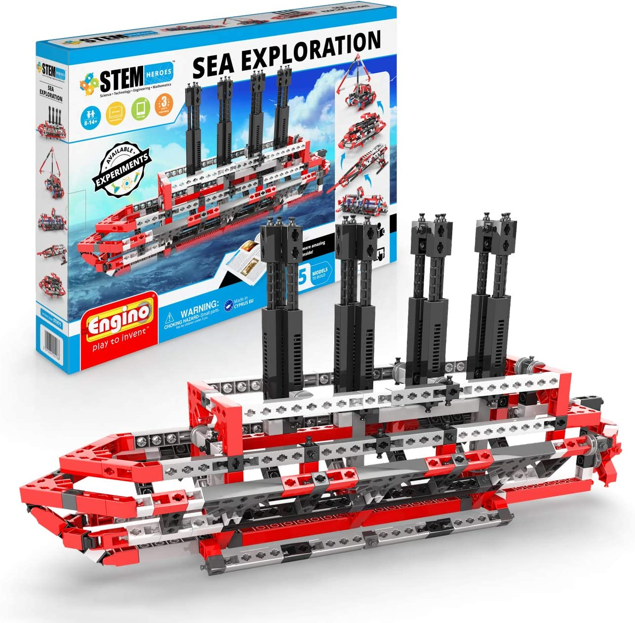 Engino - STEM Heroes Toys | Learning About: Sea Exploration - Building Toy & Learning Activities & Experiments (5 Models Options) | Perfect for Home Learning