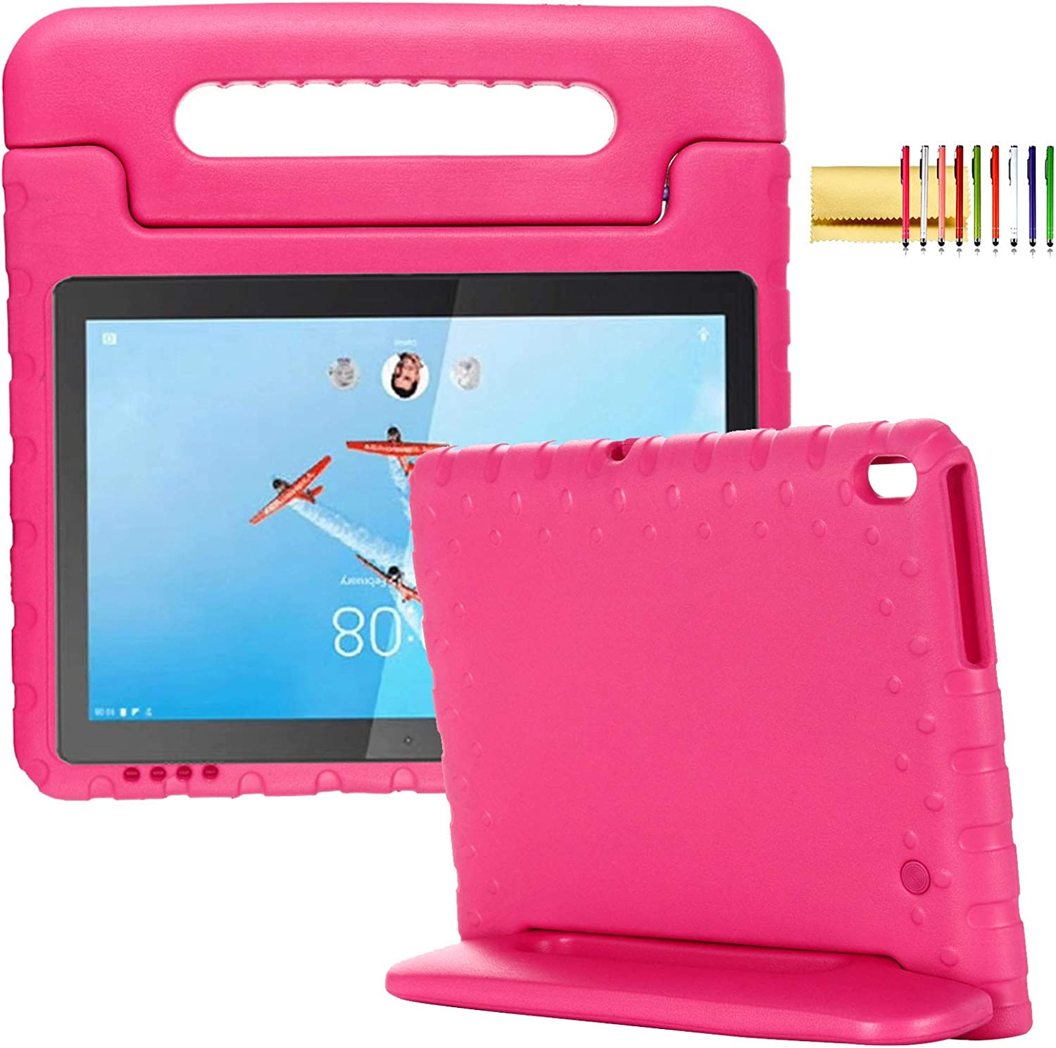 "Kids Case for Lenovo Tab E10 (TB-X104) 10.1"" Tablet 2018, Techcircle Handle Stand Lightweight EVA Foam Bumper Protective Rugged Drop Protection Child Proof Cover Shockproof Kid-Friendly Case, Rose"