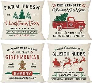 PANDICORN Set of 4 Christmas Farmhouse Pillow Covers 18x18 for Christmas Decor, Red Christmas Trees Truck Sleigh, Christmas Decor Throw Pillow Cases for Home Outdoor