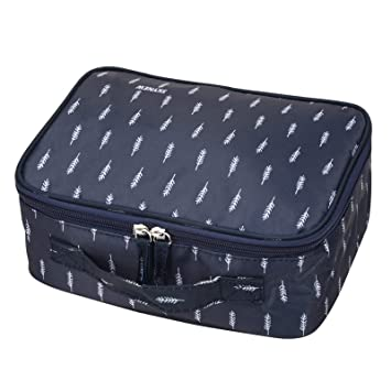 1b00152ffc94 Makeup Bag,Portable Travel Cosmetic Organizer Toiletry Case for Women by  SKYNEW,Blue Feather