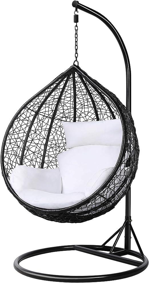 Silla colgante de mimbre, con forma de huevo, con cojín, para interior o exterior, peso máximo 150 Kg, color blanco, de la marca tinkertonk: Amazon.es: Jardín