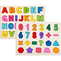 2 Piece Puzzle Set for Kids - Wooden Alphabet Blocks Learning Puzzles Set Toddler - Alphabet ABC, Numbers Recognition Toy Educational Puzzles for Kid Toddler Boys Girls