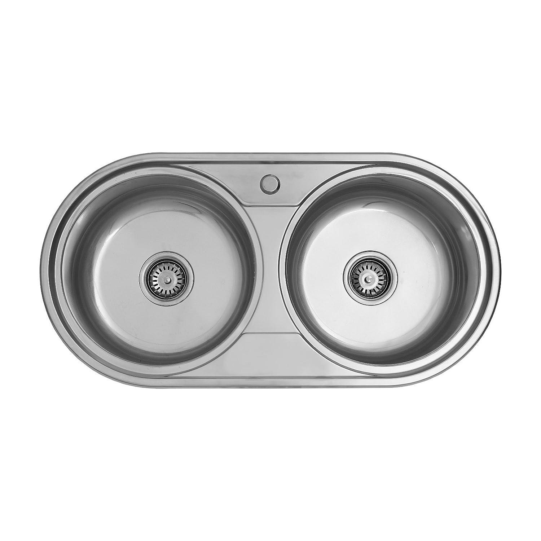 ENKI Doppel-Spü le 2 rund Spü lbecken Aufsatz/Einbau Edelstahl