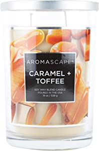 Aromascape PT41910 2-Wick Scented Jar Candle, Caramel & Toffee, 19-Ounce, Brown
