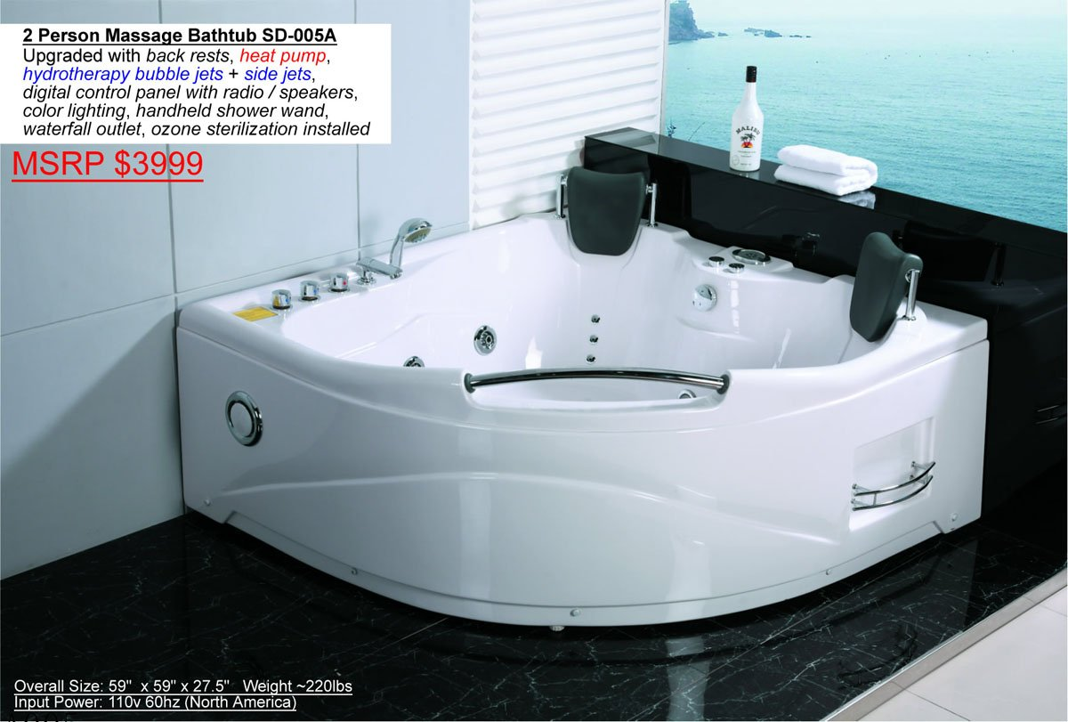2 Person Bathtub White Corner Fitting Unit Jetted Whirlpool 11 ...