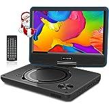 """WONNIE 11.5"""" Lecteur DVD Portable avec écran Rotatif de 9,5"""" à 270°,Carte SD et Prise USB avec Charge directe Formats/RMVB / AVI / MP3 / JPEG, Parfait pour Enfants (Bleu)"""