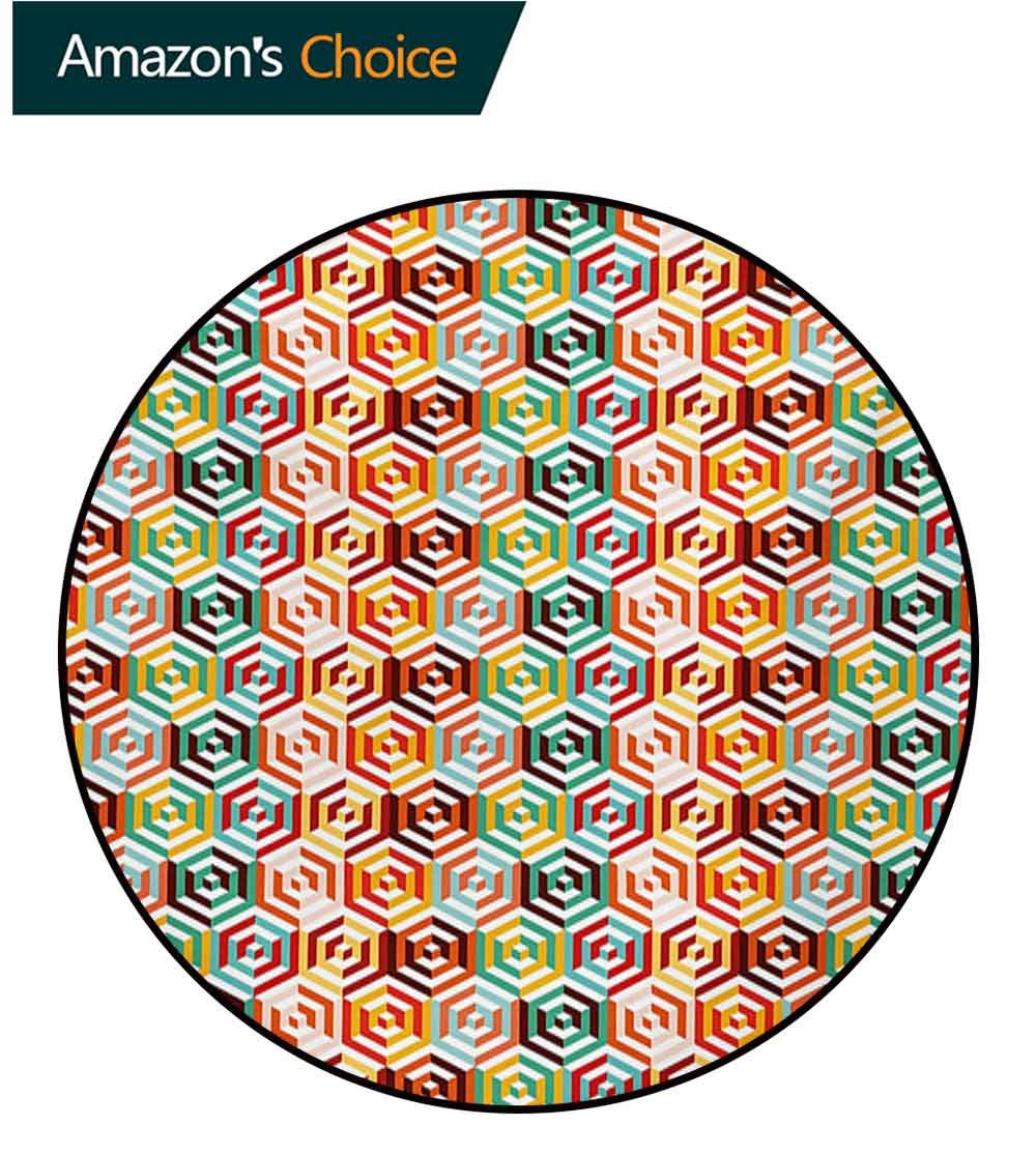 RUGSMAT Geometric Non-Slip Area Rug Pad Round,Abstract Cubes Isometric Hexagonal Shaped Pattern Colorful Retro Design Print Protect Floors While Securing Rug Making Vacuuming,Diameter-55 Inch by RUGSMAT (Image #1)