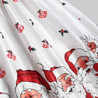 MIRRAY Weihnachten Damska Elegant Sleeveless Ärmelloses Vintage Santa Drucked Kleid Cocktail Festliche Kleider: Odzież