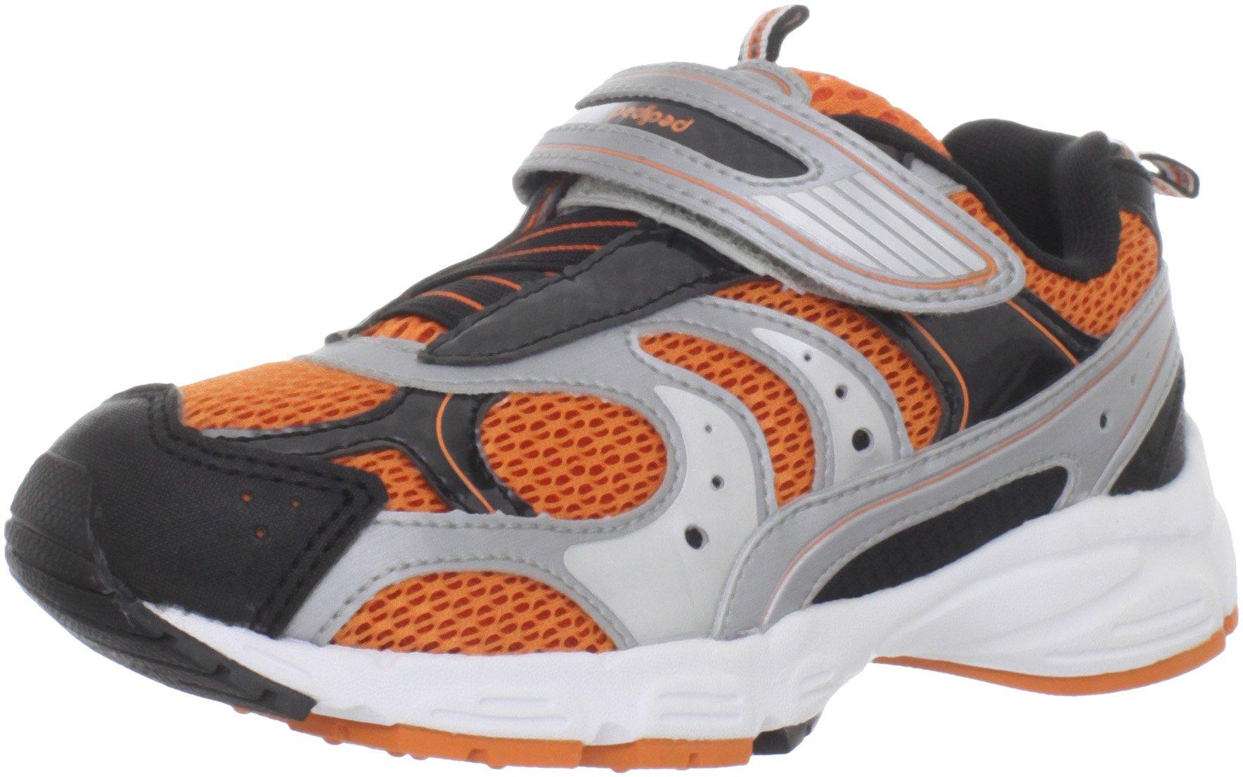 pediped Flex Saturn Running Shoe (Toddler/Little Kid),Black/Silver/Orange,24 EU (7.5-8 M US Toddler)