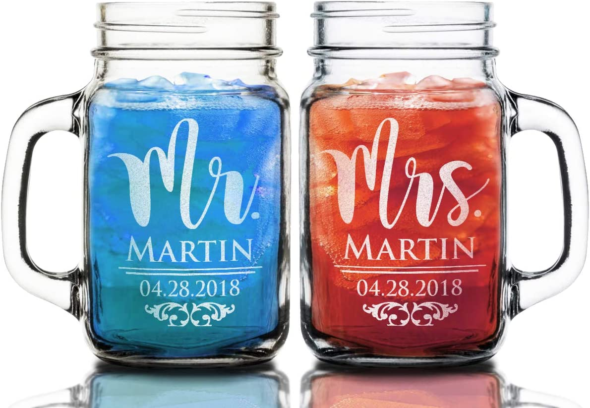 Initial Mr Mrs Set of 2 Personalized Mason Jars Drinking Mugs with Handle Personalized Custom Etched with Name and Date for Wedding Engagement Anniversary Bridal Party Gift of Favor for Newlyweds Couple Etched Laser Engraved His and Hers Couple Gift Idea
