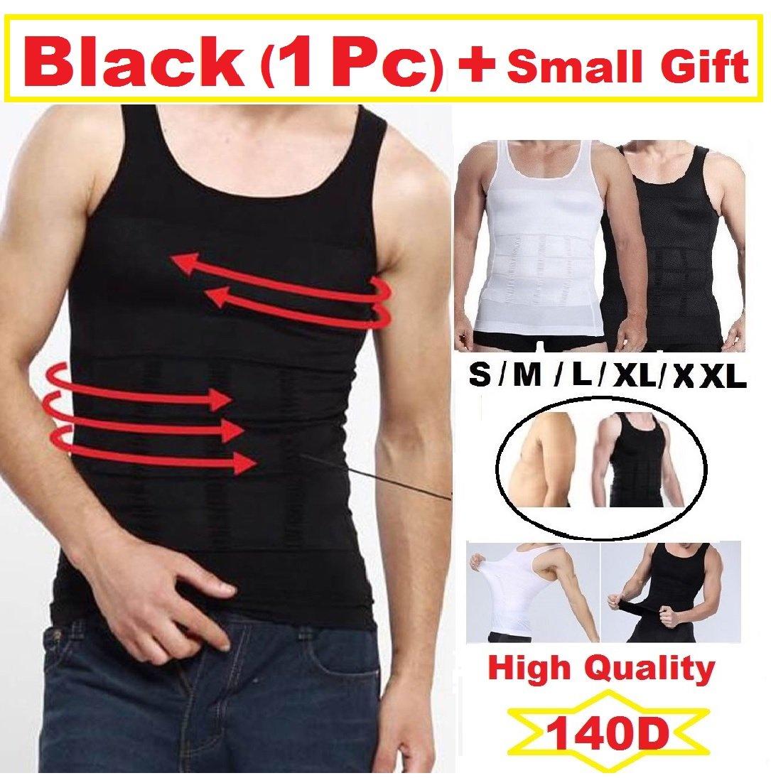 Mens Slimming Body Shaper Undershirt Vest Shirt Abs Abdomen Shaperware (S- XXL) (M/ Black)