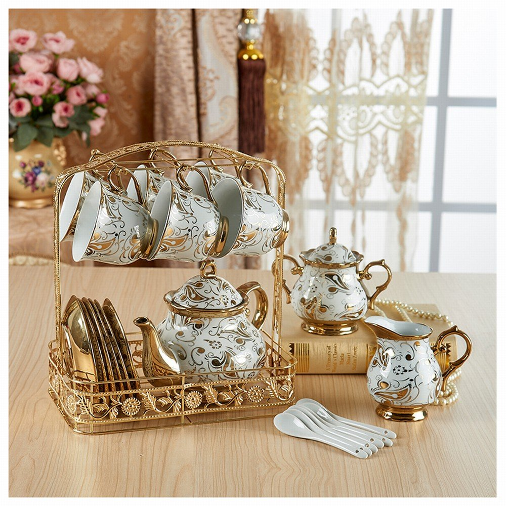 PLLP Coffee Cup Sets Full European Bone Porcelain Cup Saucer Tea Set Cup Household Mug Water Cup,D