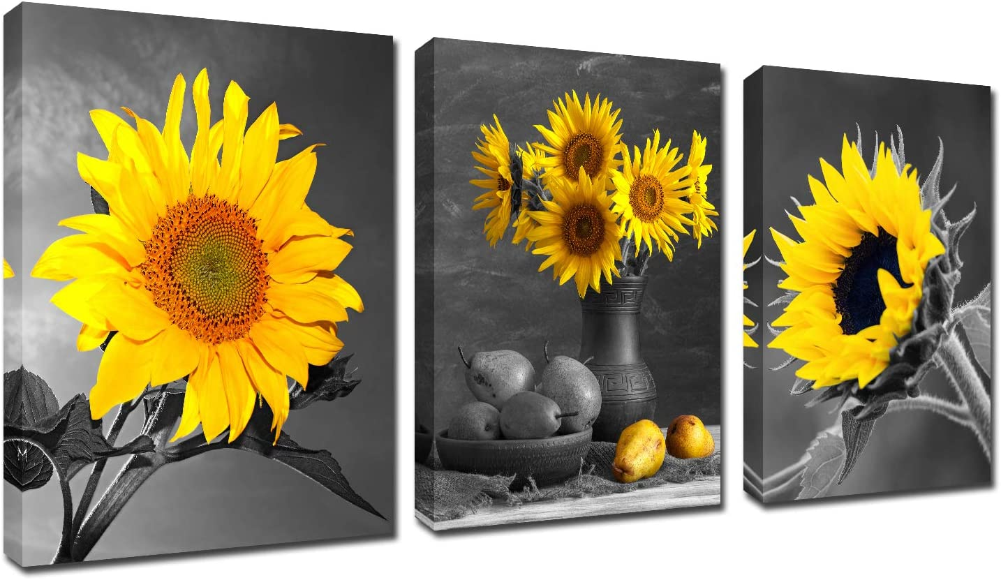 Flowers Home Wall Art Decor - 3 piece Canvas Picture Photo Print Framed Sunflower Painting Kitchen Yellow Poster Black White Office Decor Kichen Decoration Elegant Floral Stretched Artwork 12''x16''