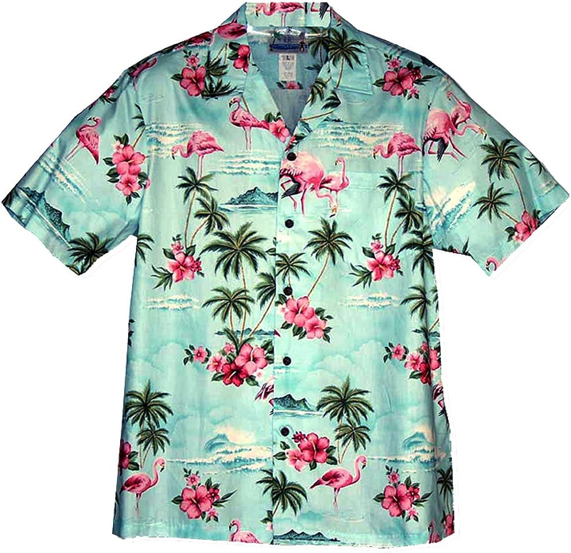 RJC Mens Pink Flamingo Hibiscus Shirt