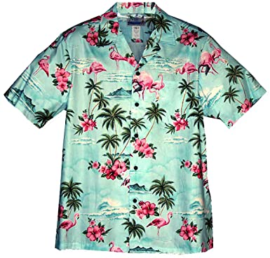 4dfa914c Amazon.com: RJC Men's Pink Flamingo Hibiscus Hawaiian Shirt: Clothing