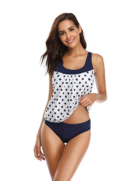LALAVAVA Womens Tankini Set Print Top with Triangle Briefs Two Piece Swimsuits (Navy Polka Dots, S)