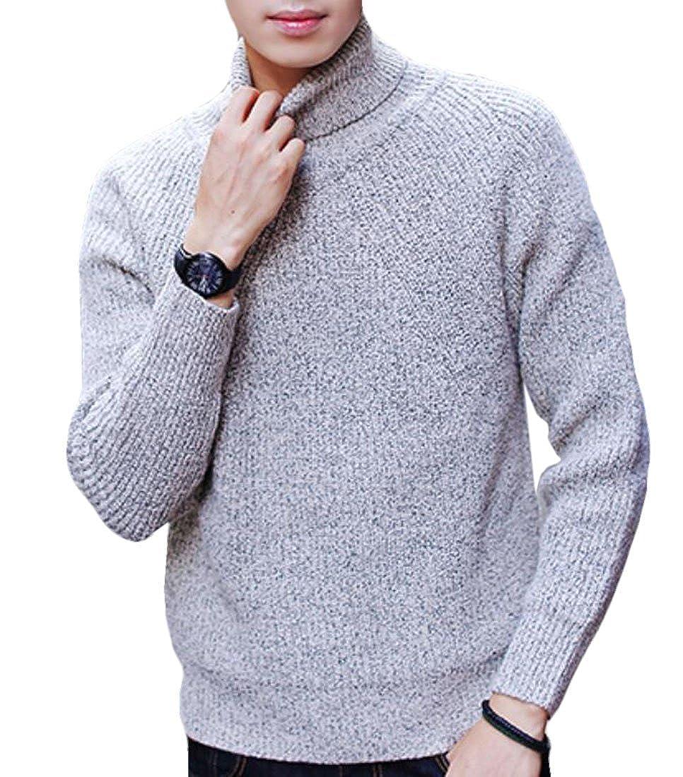 BYWX Men Elegant Long Sleeve SKnitwear Warm Turtleneck Sweater Tops