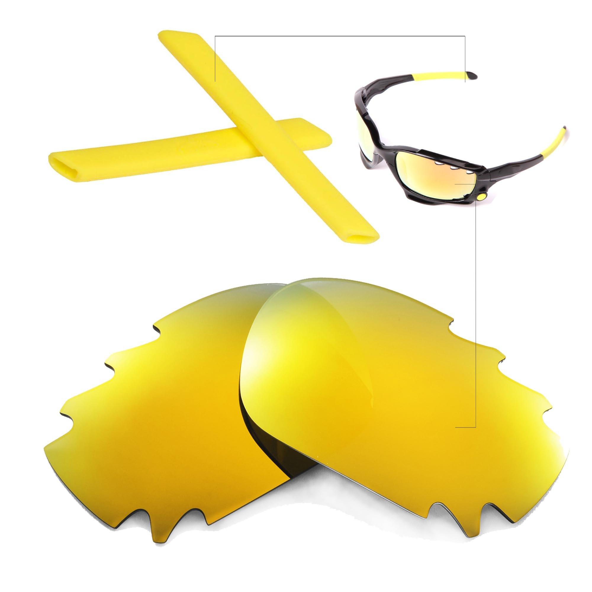 Walleva Polarized Vented Lenses And Rubber Kit(Earsocks+Nosepads) For Oakley Jawbone (24K Gold Mirror Coated Polarized Lenses + Yellow Rubber)