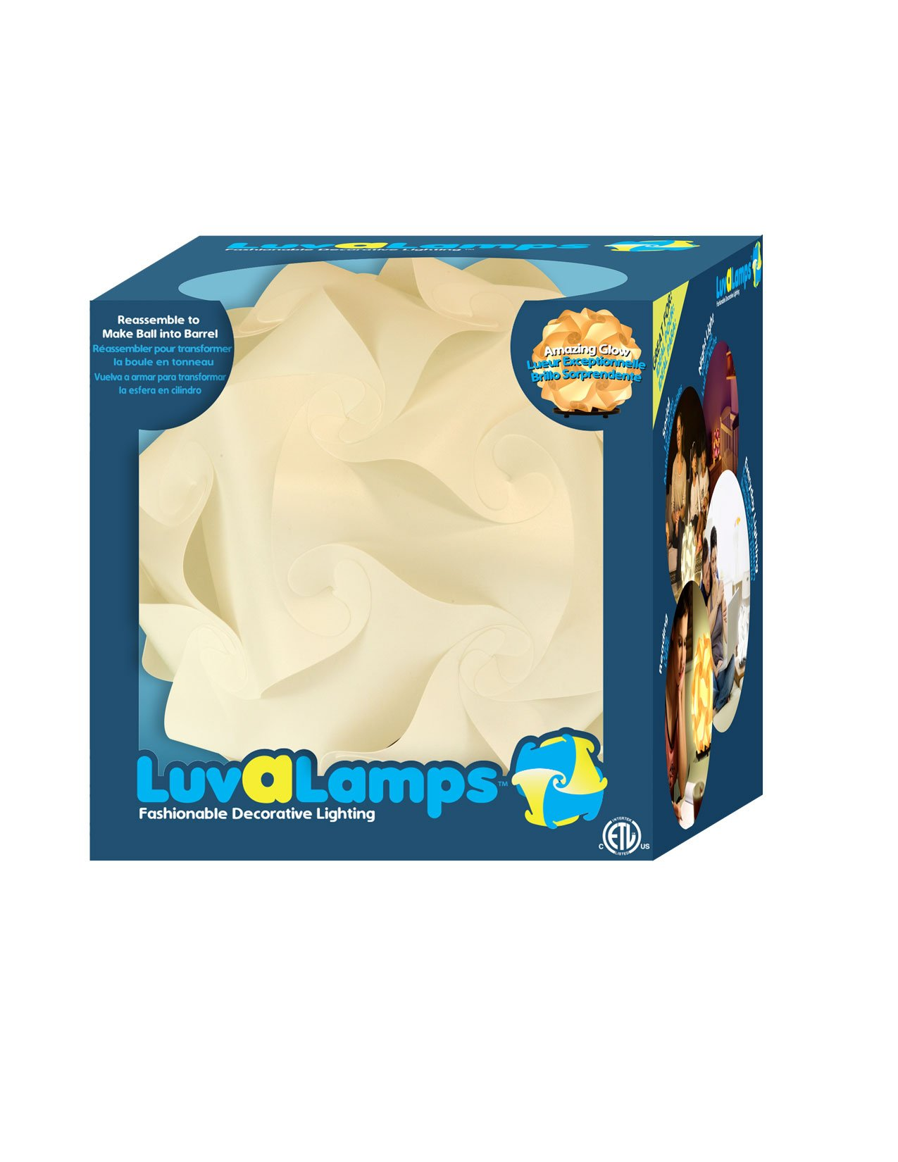 LuvaLamps POI90300 Lamp with Stand, 11.38'' x 11.38'' x 11.38'', White