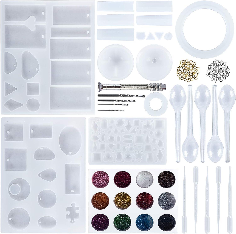 159 Piezas Kit de molde silicona joyeria epoxi,Silicona Resina para Hacer Joyerias,Resina Moldes para hacer artesanías de joyería DIY,Juego de Herramientas de Epoxi de Cristal con Bolsa