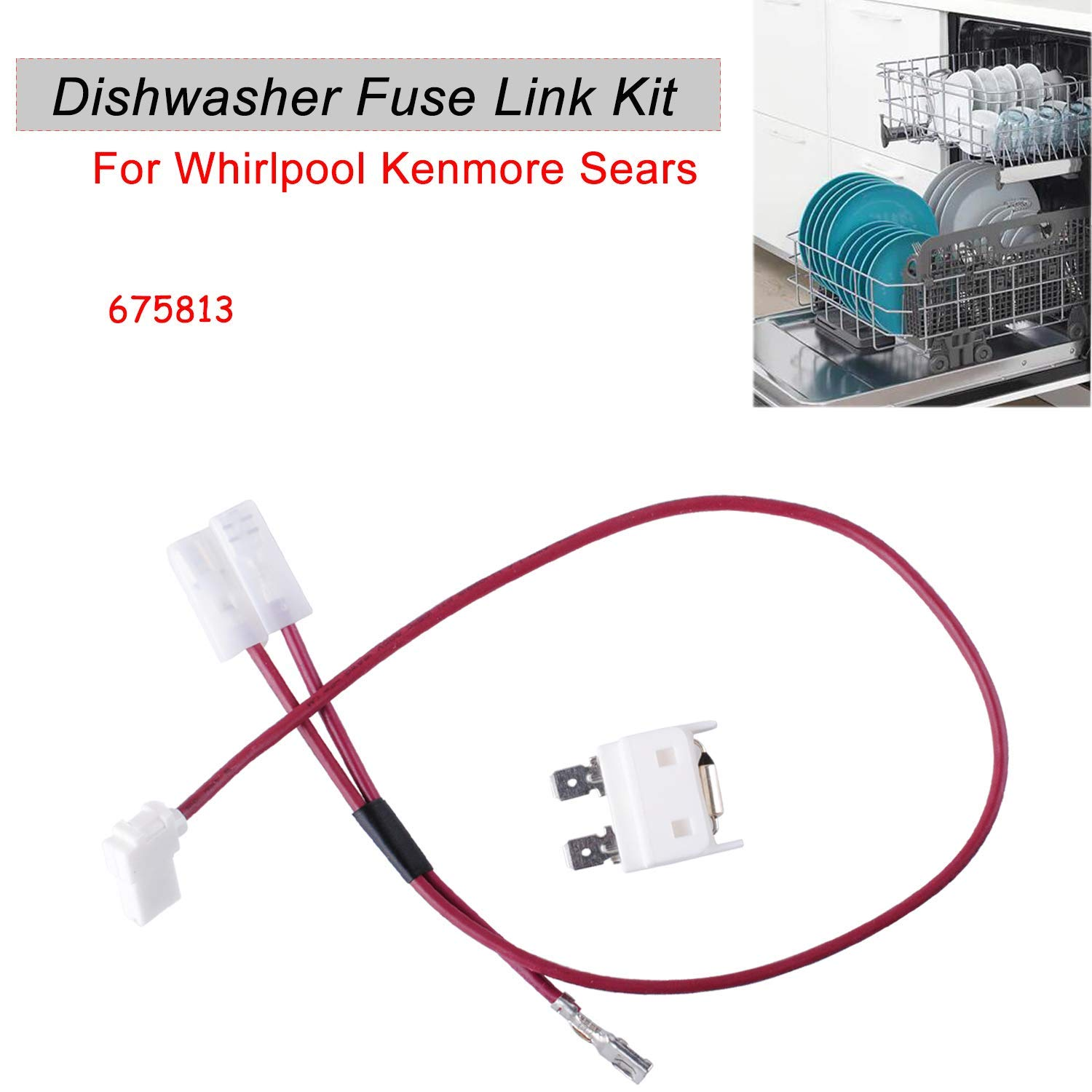 675813 Dishwasher Thermal Fuse Replacement for Whirlpool Kenmore Dishwasher Door Switch - Replace PS382828 AP3115186 3375557 3376359