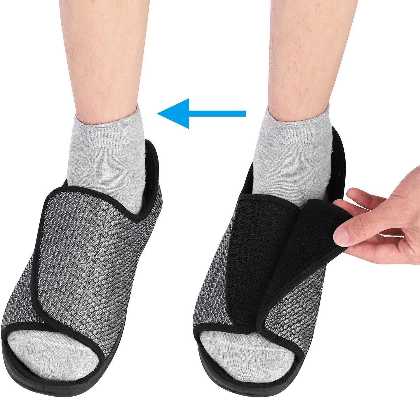 ITODA - Zapatos diabéticos para Hombre, ortopédicos, con Punta Abierta, Ajustable, para Interiores y Exteriores, Antideslizantes, cómodos, para pies hinchados, Gris, EU 41