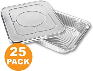 [25 Pack] Large Rectangular Disposable Aluminum Foil Steam Table Baking Roast Pans with Flat Lids, Half Size 13 x 10