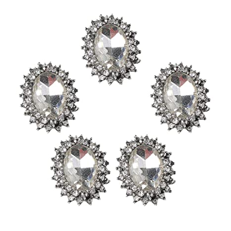 non-brand 5 Pieces Shiny Diamante Crystal Rhinestone Oval Buttons  Embellishments Flatbacks Appliques for DIY 566bb6457dff
