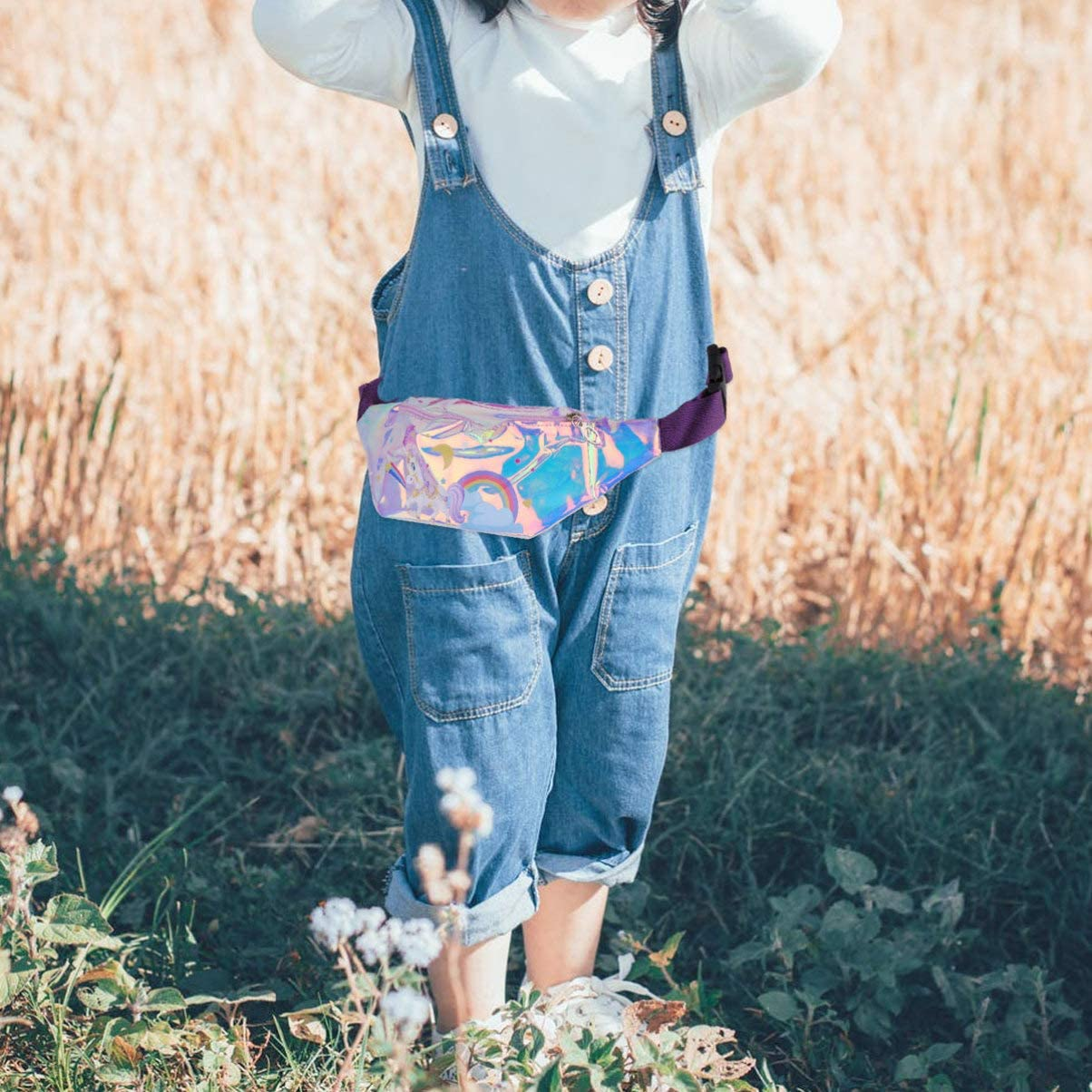 TENDYCOCO Fanny Pack Kids Holographic Chest Bag Translucent Unicorn Waist Bag Cartoon Bumbag for Baby Kids Pink