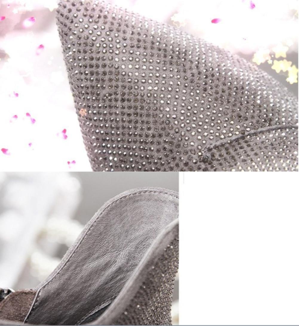 NVXUEZIX Damenschuhe Mikrofaser Mikrofaser Mikrofaser Gummisohle Winter Herbststiefel Stiletto Heel Spitz Toe Stiefelies Ankle Stiefel Glitter, 39 35664e