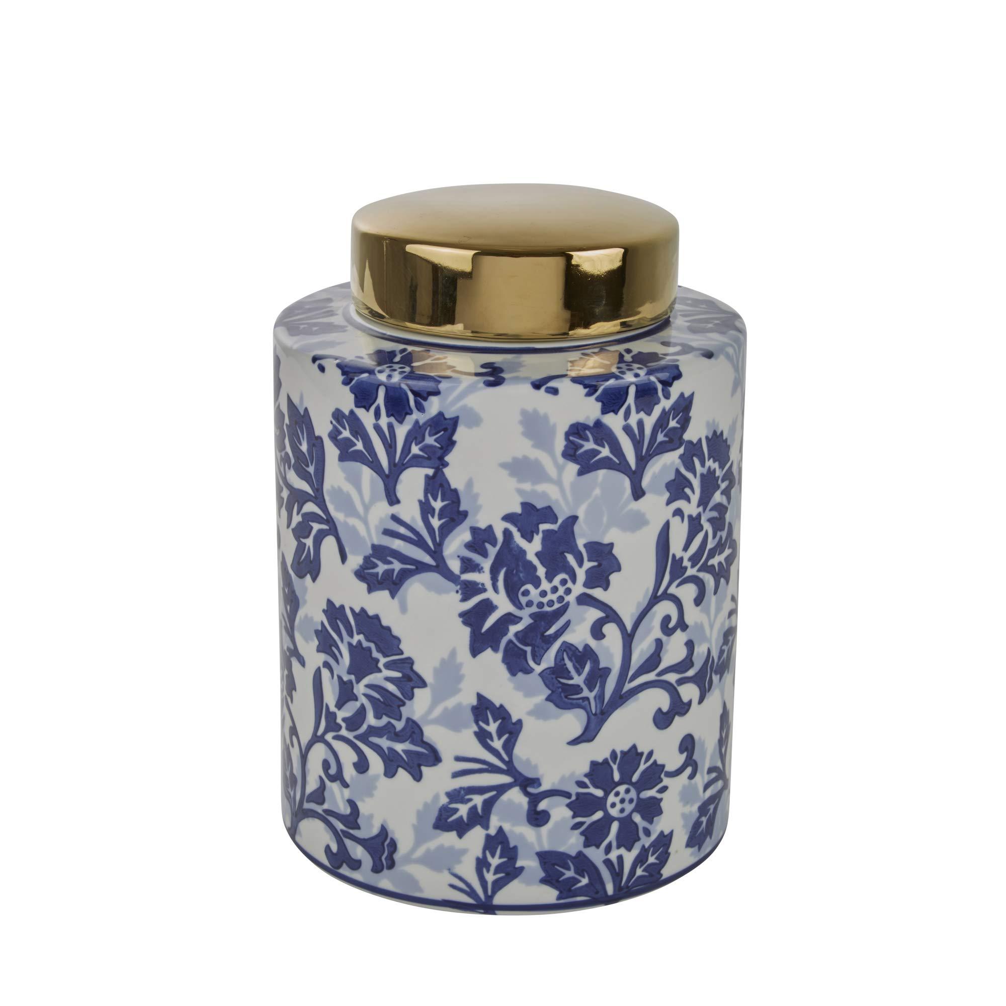 Sagebrook Home 13457-01 Ceramic Jar, 7.75'' x 7.75'' x 11'', Blue/White