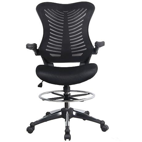 Modrine Ergonomic Swivel Drafting Chair, Height Adjustable Breathable Mesh  Back With Steel Footring, Flip