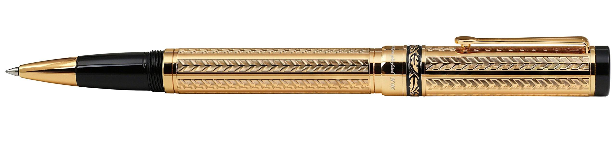 Xezo Diamond-Cut 18-Karat Gold Layered Weighty Fine Rollerball Pen. Screw-on cap (Tribune Gold RG) by Xezo (Image #4)