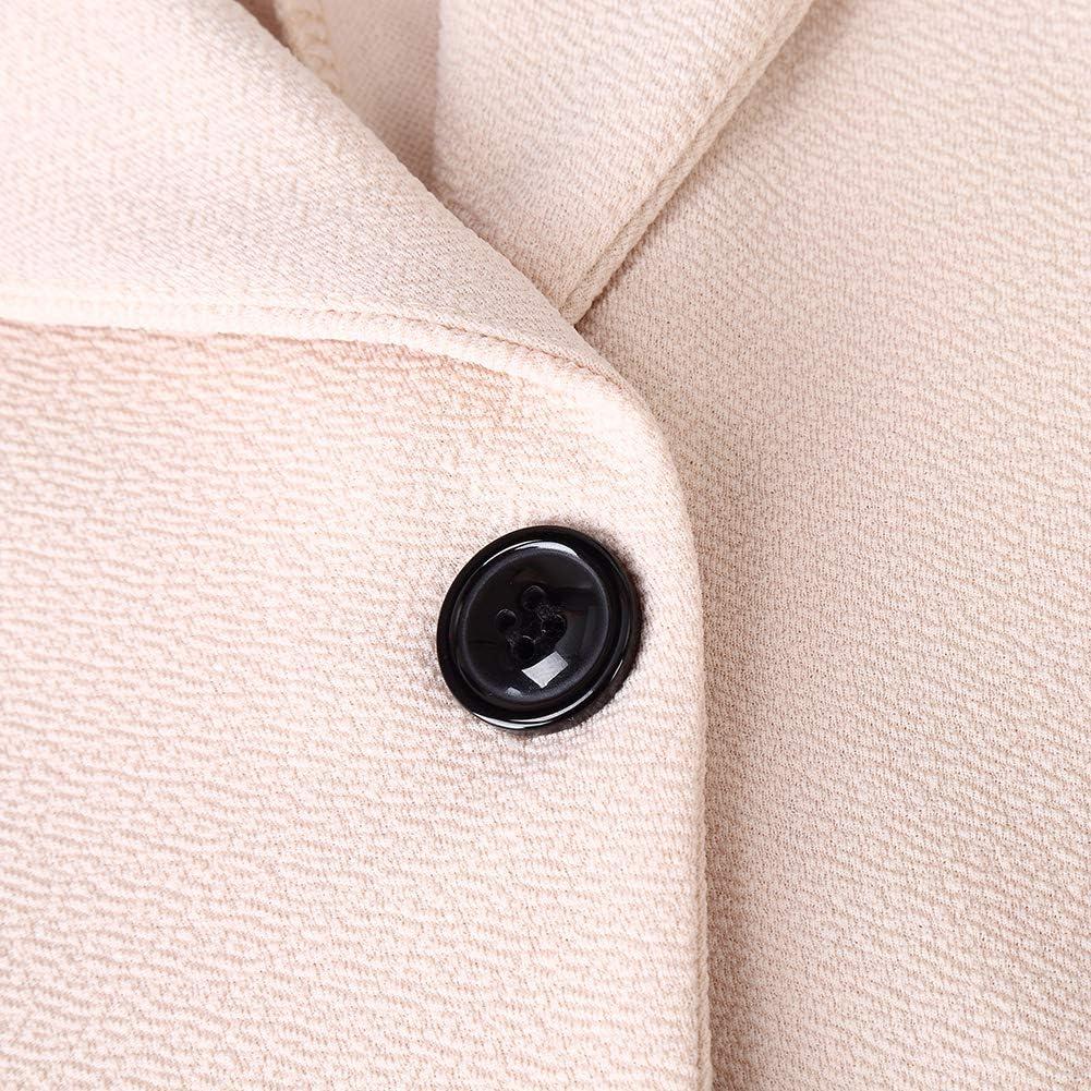 KOJOOIN Womens 3//4 Ruched Sleeve Blazer Open Front Lightweight Office Cardigan Jacket Slim Fit Blazer