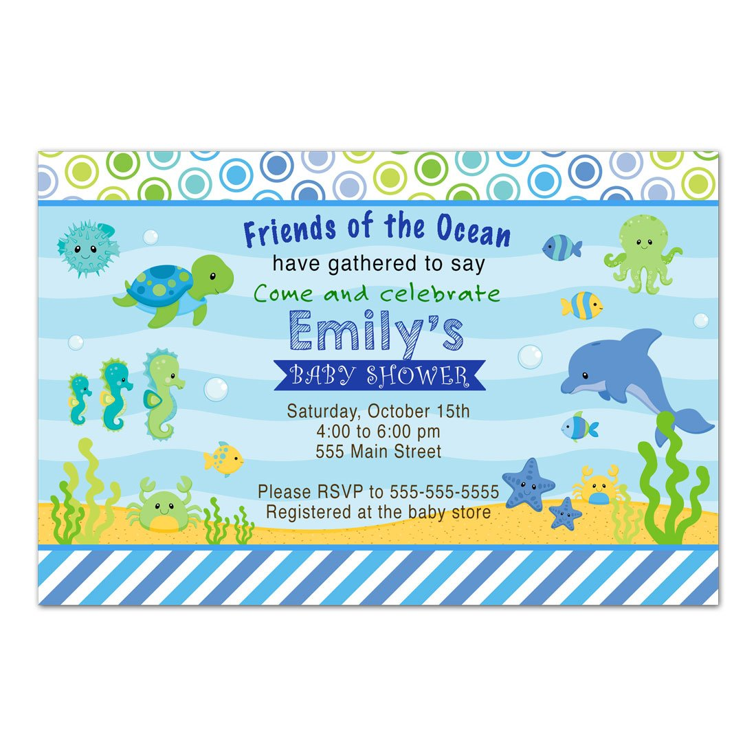 30 Invitations Boy Baby Shower Aquarium Under The Sea Animals Personalized Cards + 30 White Envelopes by Pink The Cat