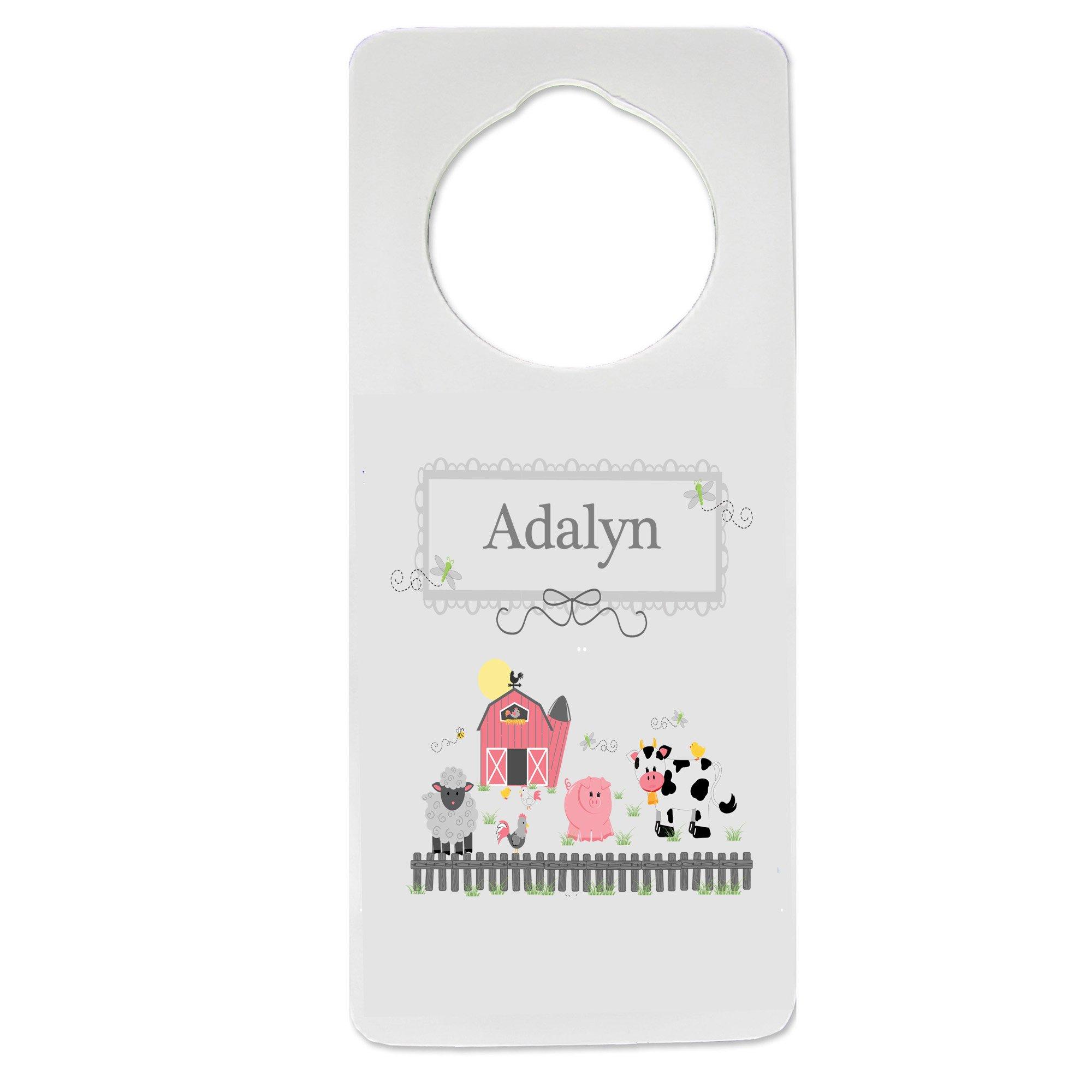 Personalized Nursery Door Hanger with Barnyard Friends design